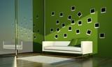 Wohndesign sofa mit regenbogenkissen stockfotos und for Sofa vor fenster