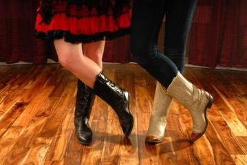 Line Dancing Female Legs in Cowboy Western Boots