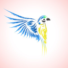 Icon of a beautiful macaw. Vector illustration.