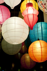 Colorful asian silk lanterns at night