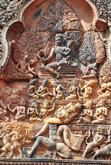 украшения храма Bantay Srei в Камбодже