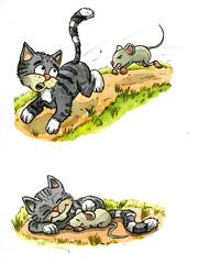 Katz und Maus, Illustration