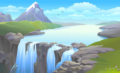 Wall Murals Light blue BEAUTIFUL MOUNTAIN SIDE RIVER TURNING INTO A WATERFALL