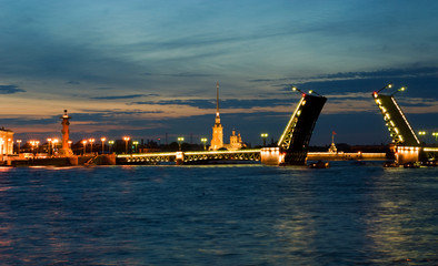 White nights of St.Petersburg, Russia.Palace Bridge