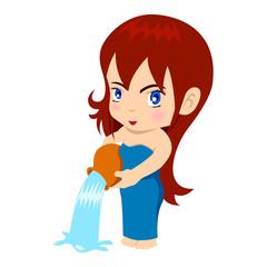 Vector illustration of Aquarius in cartoon style