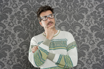 nerd pensive silly man retro wallpaper glasses tacky