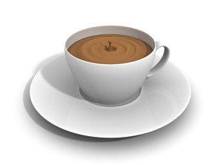a cup of hot coffee in the morning