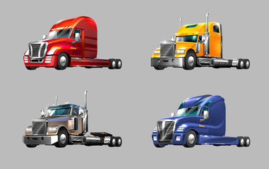Printed roller blinds Cars set of different trucks