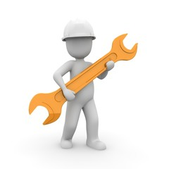 Mechanical engineer with a large wrench