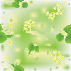 Seamless pattern with blossoming linden