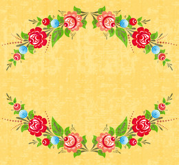 Floral frame in folk style
