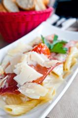 tasty pasta with roast ham