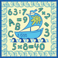 boat at sea during the day. thematic frame, letters and numbers