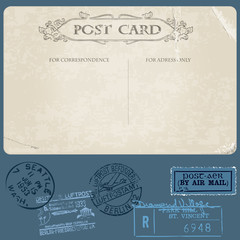 Antique postcards in vector with set of Postal stamps
