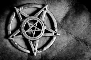 Pentagram in hand macro shot