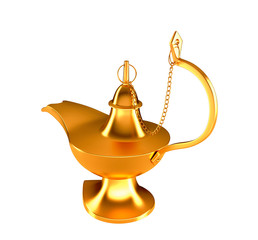 Golden Genie lamp isolated on white