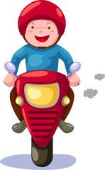 Keuken foto achterwand Motorfiets Boy riding motorcycle