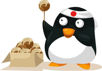 Penguin with takoyaki