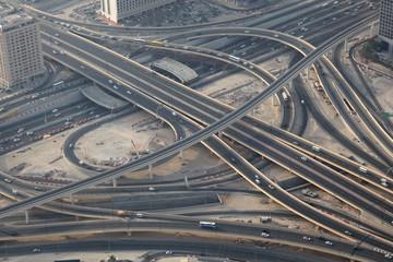 Aerial view of a highway junction in Dubai, UAE