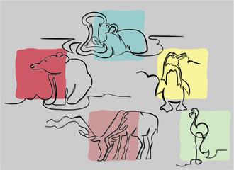 wild animals in one line