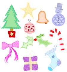 Set of 10 appliqued Christmas shapes