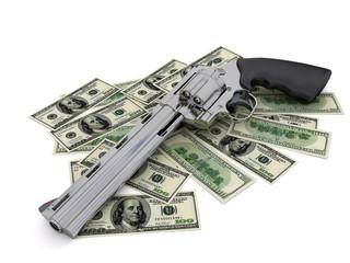 Модель кольта на  долларах на белом фоне
