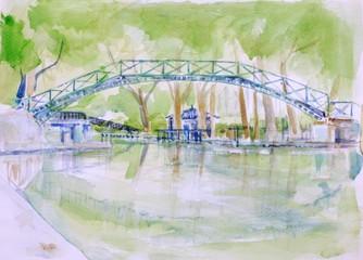 Poster Illustration Paris Canal Saint Martin