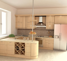 Modern Kitchen Interior ijn 3D