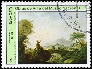 CUBA - CIRCA 1978 Landscape with Figures