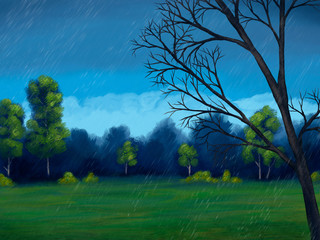 digital painting of a rainy day in the park