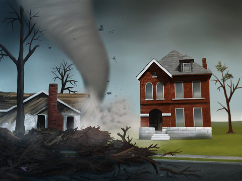 digital painting of a deadly tornado destroying houses