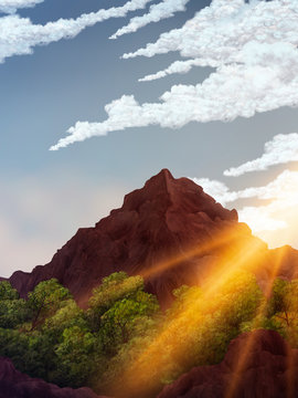 painting of the sun rising over a mountain peak