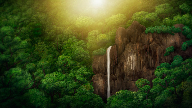 digital painting of a waterfall within a jungle canopy
