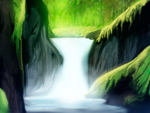 soft waterfall in a green forest landscape