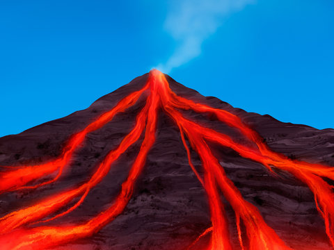 volcano erupting with red hot magma