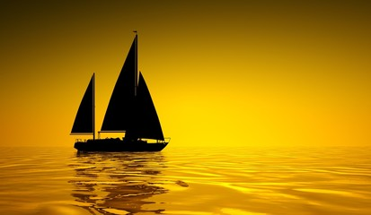 Segelboot im Sonnenuntergang 2