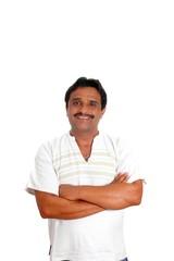 Mexican man with mayan shirt smiling