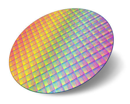 Silicon wafer with processor cores