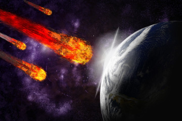 Wall Mural - Asteroid and earth planet on starfield abstract background. Illu