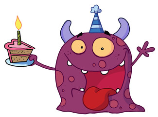 Purple Birthday Monster Wearing A Party Hat