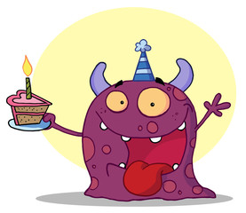 Spotted Purple Birthday Monster Wearing A Party Hat