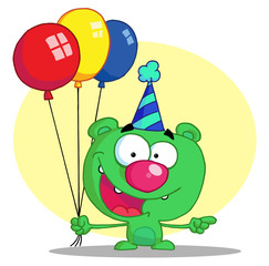 Green Birthday Bear In A Party