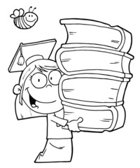 Outlined Graduate School Girl Carrying A Stack Of Books
