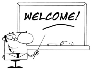 Outlined Male School Teacher Pointing To A Welcome Chalkboard