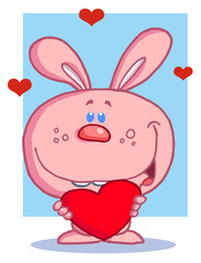 Romantic Pink Rabbit With Heart
