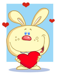 Happy Romantic Yellow Rabbit With Heart