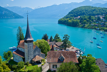 spiez church, lake thun, spiez, switzerland.