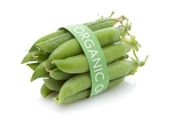 Tied fresh organic pea pods