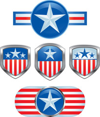 American pins on isolated background