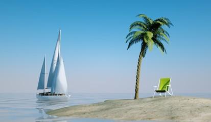 Einsame Insel mit Liegestuhl